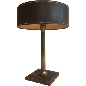 French vintage lamp in brown leather with its accessories 1970