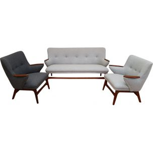 Vintage danish lounge set in teakwood and wool 1960s