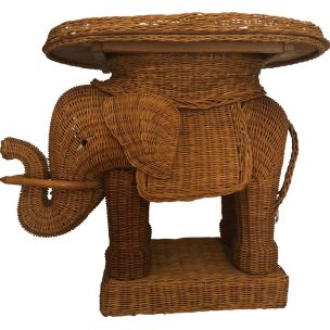 French vintage elephant in rattan and wicker 1960