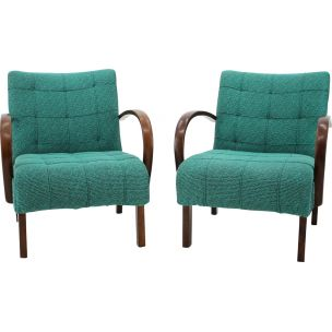 Set of 2 vintage armchairs for Thonet in green fabric and wood 1940