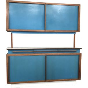 André Sornay vintage mahogany and blue formica highboard 1950