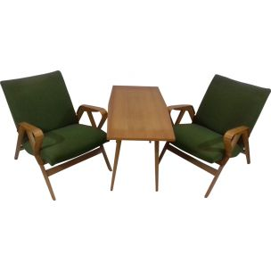 Vintage set by Tatra Pravenec in wood and green fabric 1960s
