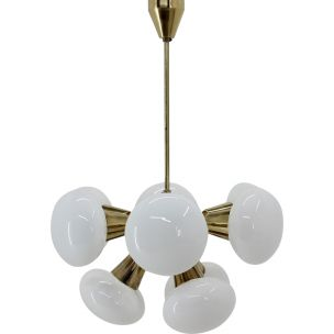 Vintage Sputnik chandelier by Kamenický Šenov in glass and brass 1970s