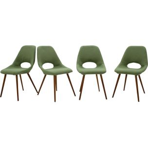 Set of 4 vintage chairs in green fabric and wood 1960s