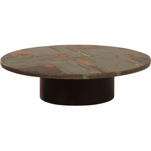 Vintage coffee table round in natural stone by Paul Kingma, 1970s