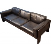 Bastiano sofa and 2 armchairs in black leather, Tobia SCARPA - 1962