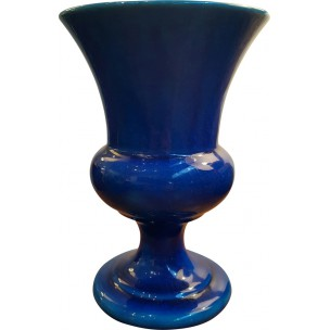 Vase in blue ceramic, Pol CHAMBOST - 1970s