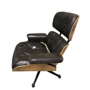 Vintage armchair by Charles Eames in smooth brown leather Herman Miller edition, 1970