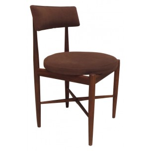Set of 6 dining chairs in massif teak and wool, Victor B WILKINS - 1960s