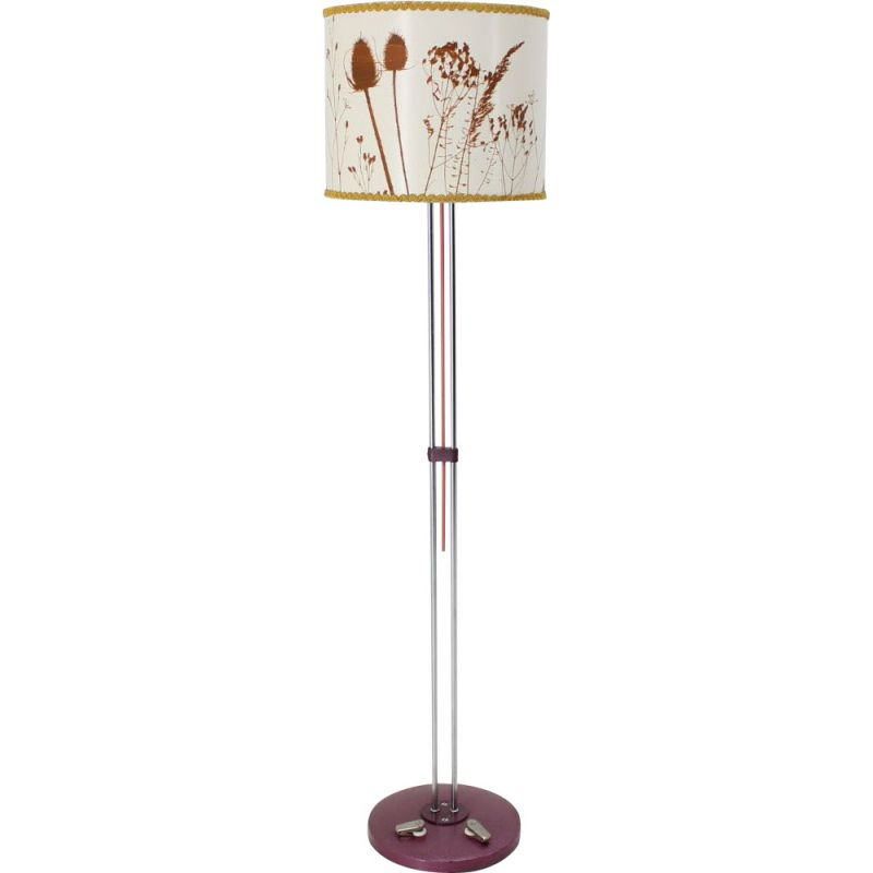 Vintage floorlamp for Ligdokov in white fabric and steel 1970s