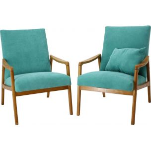Pair of vintage armchairs in green fabric and wood 1960s