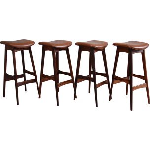 Set of 4 vintage bar stools in rosewood and leather Erik Buch