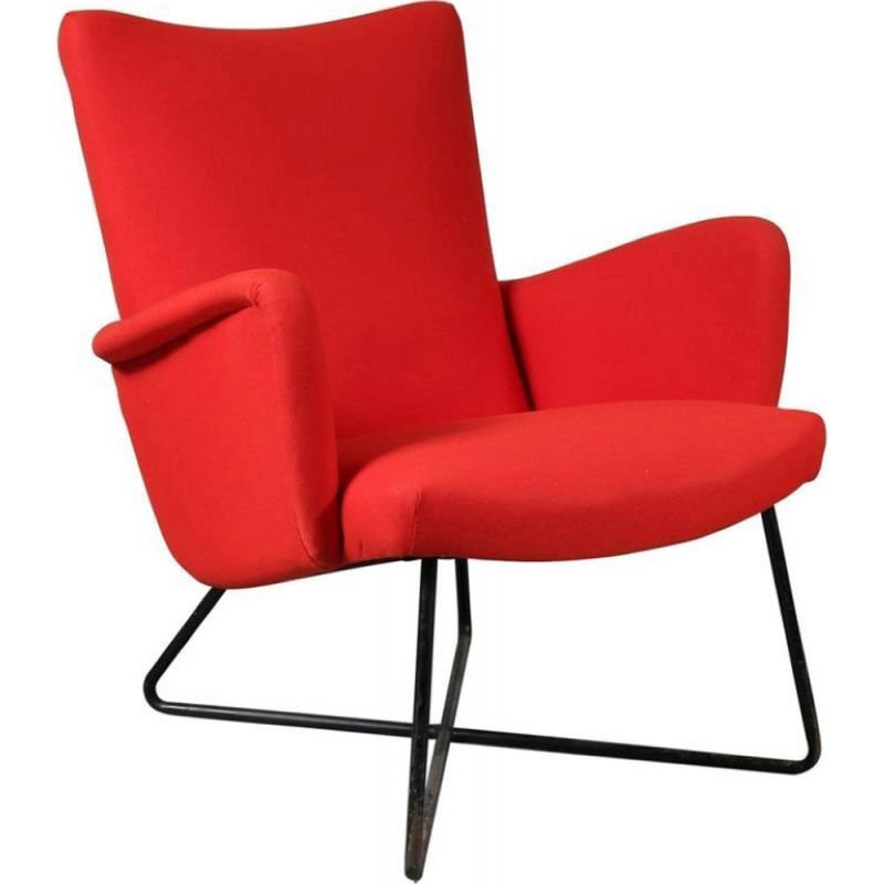 Vintage Grete Jalk red lounge chair