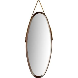 Vintage Italian oval rosewood mirror with cord