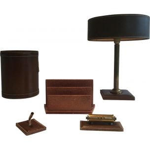 Vintage leather desk set 1970