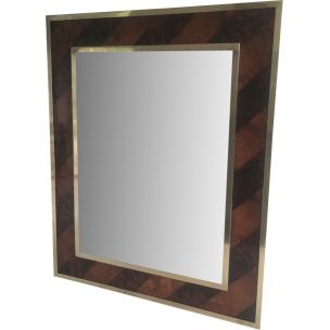 French vintage mirror in wood and brass 1960