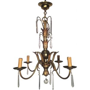 French vintage chandelier for Maison Bagués in bronze and crystals 1940