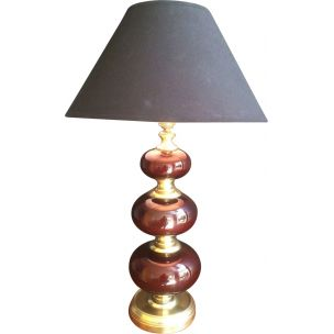 French vintage brass lamp and red glass