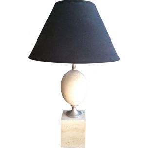 French vintage lamp by Barbier in travertine and chrome 1970