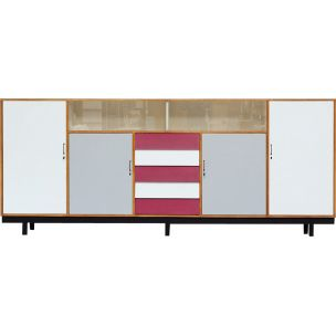 Vintage sideboard in beech and red formica 1960
