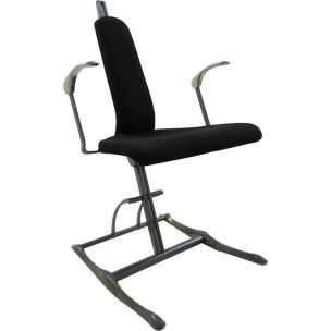 Vintage Meridio office chair for Hille in grey fabric and aluminium 1990s