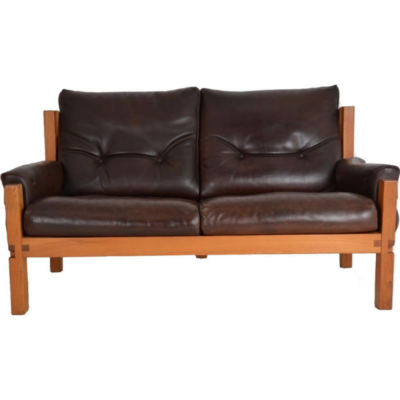 vintage S 22 sofa by Pierre Chapo in brown leather and elm 1960