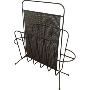 French vintage magazine rack in black metal 1950