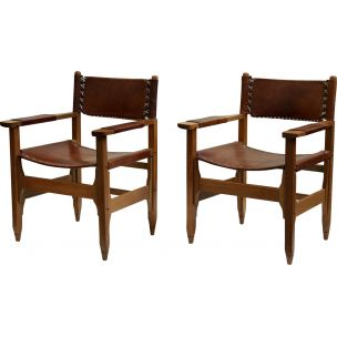 Pair of vintage armchairs for Arte Sano in teak and leather 1960