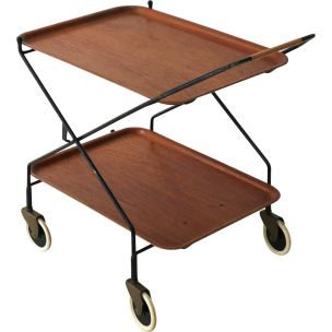 Vintage foldable serving cart with in teakwood and in steel 1950