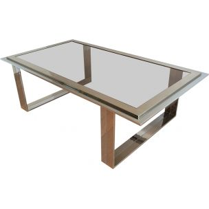 Vintage french coffee table in chrome and brass 1970