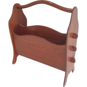 Vintage magazine holder in teak Scandinavian 1970s