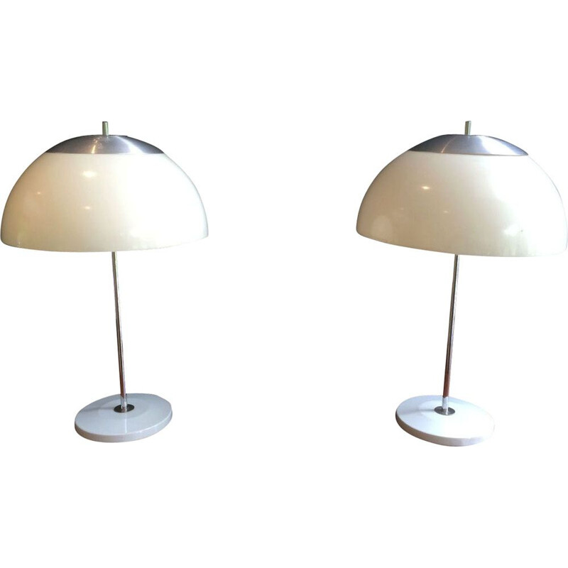 Pair of vintage french lamps in metal and plastic 1970