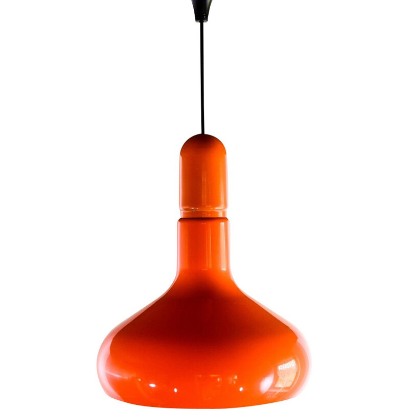 Vintage hanging lamp orange plastic by Guzzini Italy 1970s