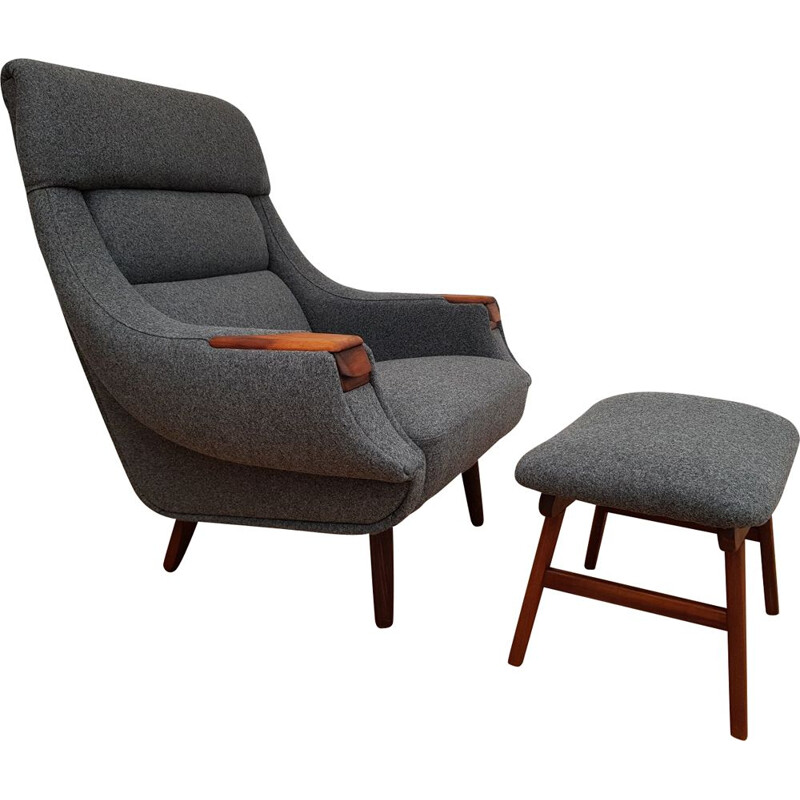 Vintage lounge chair & ottoman by Henry Walter Klein for Bramin, Danish 60s