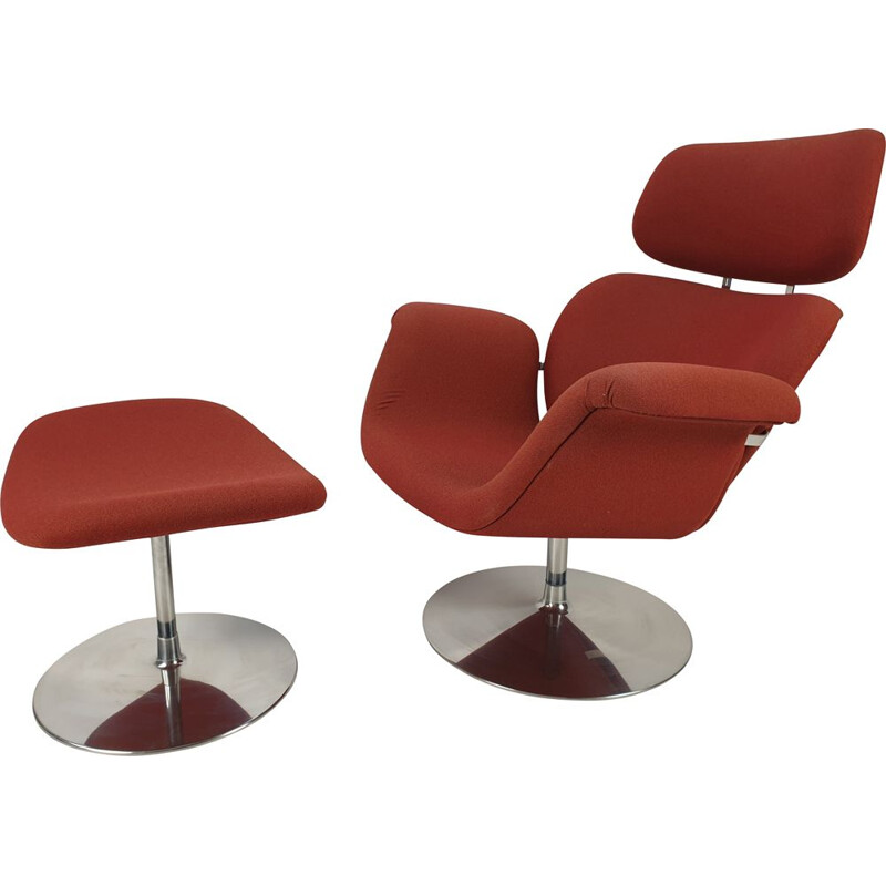 Vintage Tulip Chair & Ottoman by Pierre Paulin for Artifort, 1980s