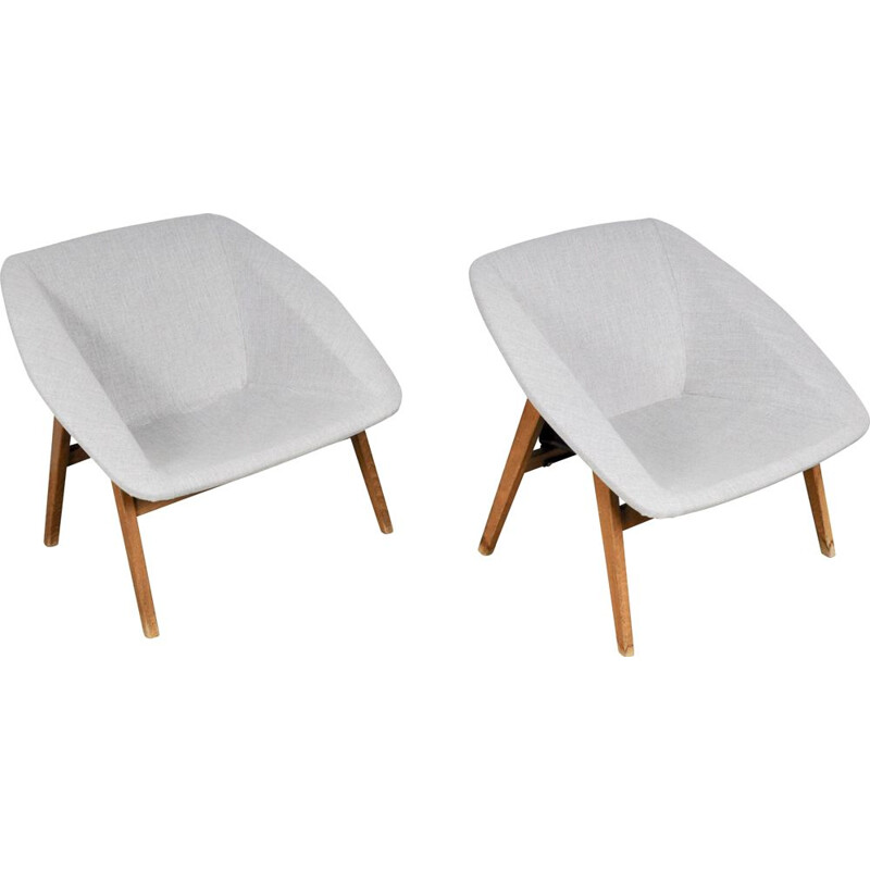 Pair of vintage Corb armchair by Joseph André Motte for Steiner