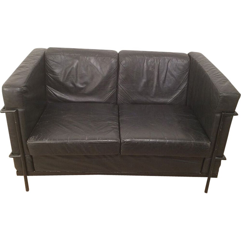Vintage sofa in black leather and black lacquered metal