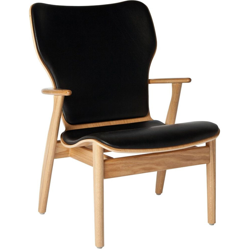 "Lounge chair ARTEK ""Domus"", leather, by Ilmari Tapiovaara"