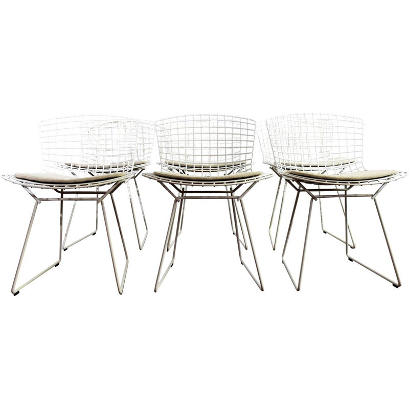 Set of 6 vintage side chairs by Harry Bertoia in metal and white fabric 1990