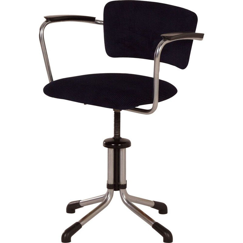 Vintage swivel 354 desk chair by Gispen with new black blue fabric 1930