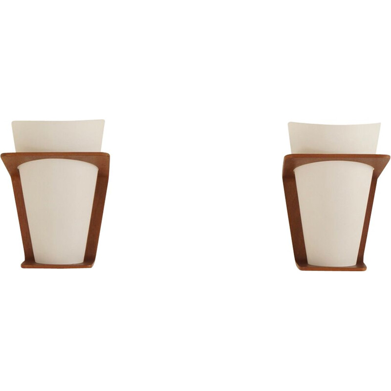 Pair of vintage wall lamps NX 41 for Philips in teak and glass 1960s