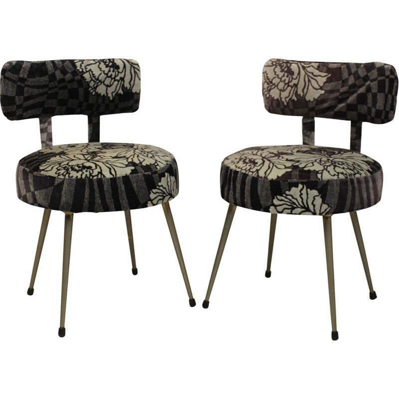 Pair of french Pelfran chairs in fabric 1960