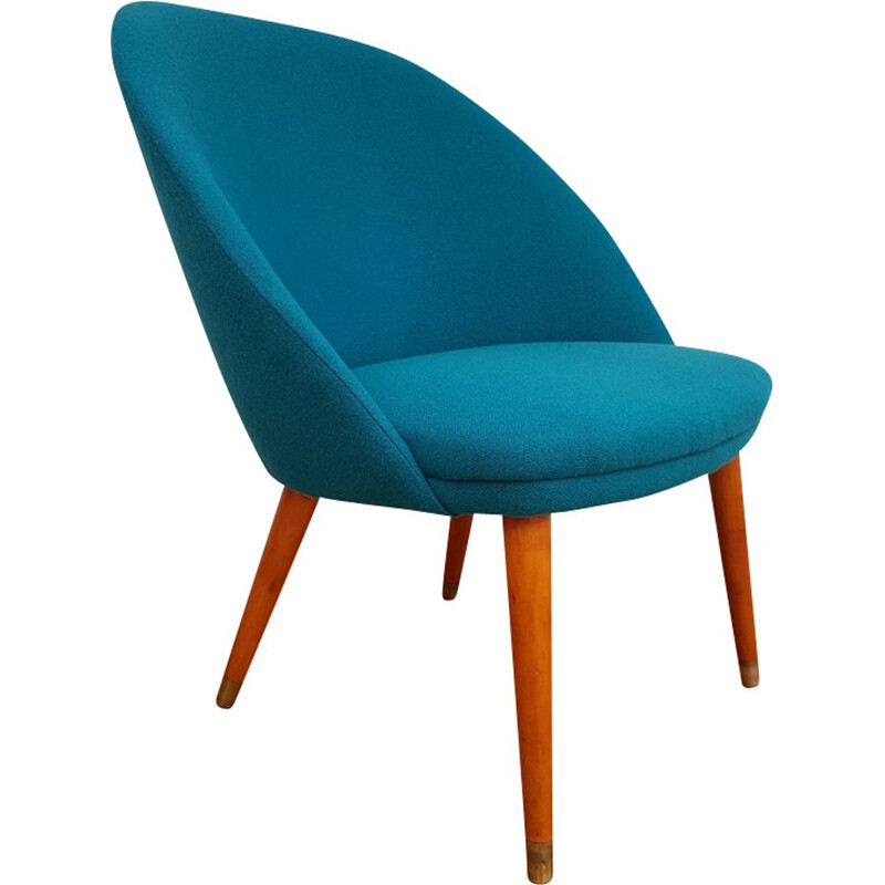 Vintage danish lounge chair in blue wool and beechwood 1970s