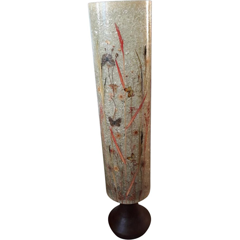 French vintage floorlamp in resin and beige ceramics 1970