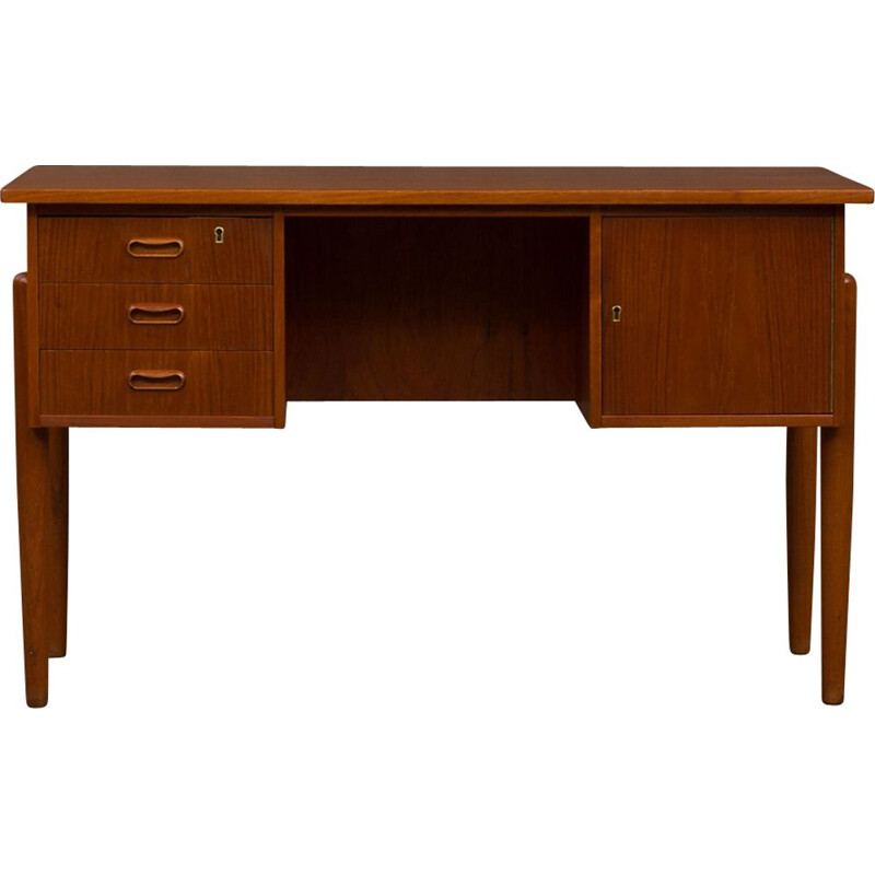 Vintage danish free standing desk with curved desktop 1950s