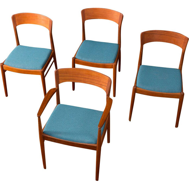 Set of 4 vintage chairs for K.S. Møbler in blue polyester and teakwood 1960s