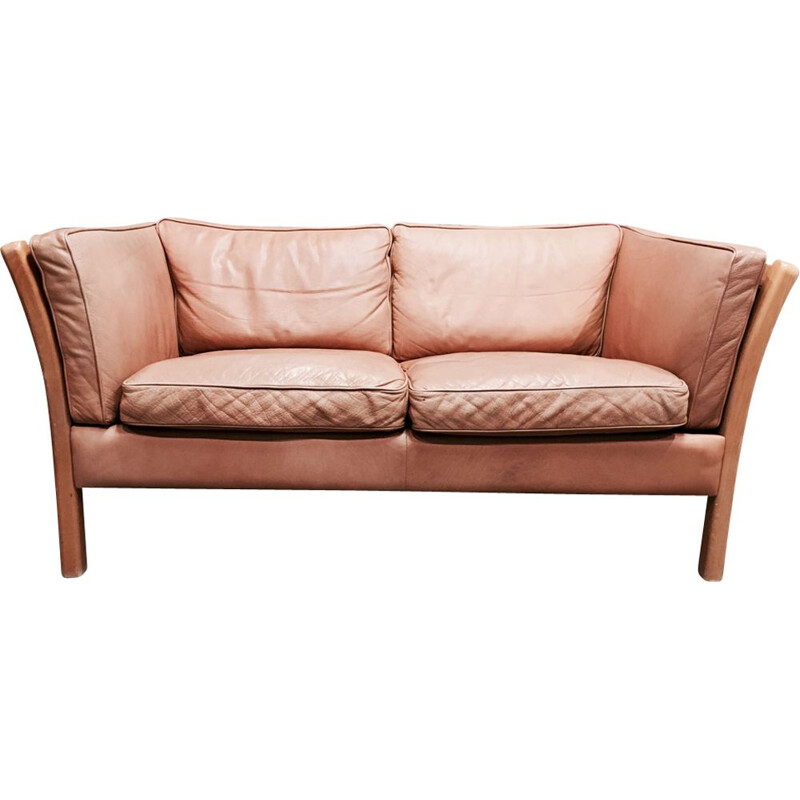 Scandinavian vintage sofa in beige leather and pine 1970