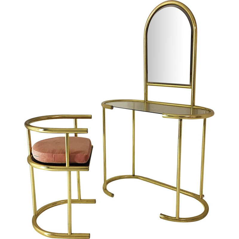 Vintage brass vanity table and chair 1970
