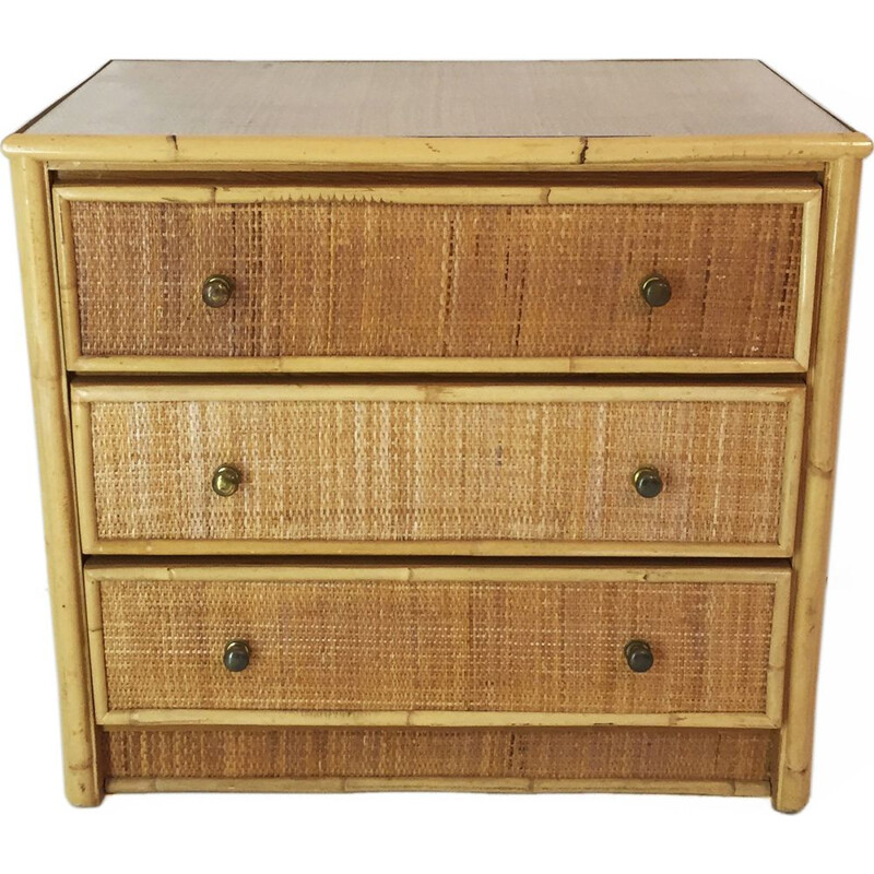 Vintage bamboo and rattan chest of drawers 1980