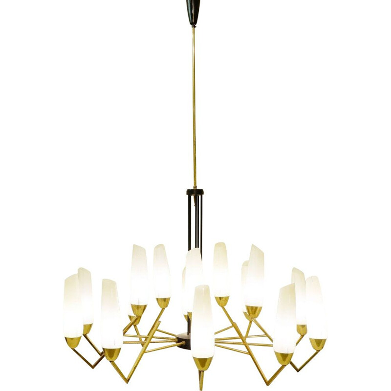 Vintage brass chandelier and opalin glass 1960